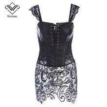 Wechery корсаж стимпанк кожаный корсет платья сексуальные корсеты и бюстье с застежкой-молнией ПВХ Готический Бюстье Плюс Размеры моделирования ремень