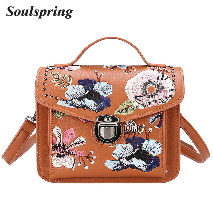 Fashion Floral Women Crossbody Bag Flap Embroidery Messenger Bag Brand Ladies Leather Handbags Lock Tote Bags Sac A Main Vintage