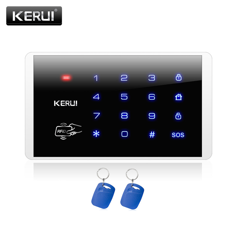 KERUI New K16 RFID Touch Keypad For Wireless PSTN GSM Alarm Systems Burglar Access Control System Wireless Password Keypad kerui new 900 1800 1900mhz wireless gsm pstn burglar security alarm system for home house garden store shop office