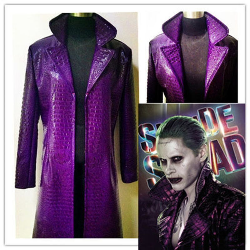 Suicide squad Cosplay Costume Clown Purple Leather Jared Leto Coat Long Trench for Men Joker  Purple Jacker for Man T175102