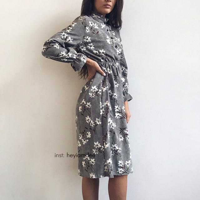 Corduroy High Elastic Waist Vintage Dress A-line Style Women Full Sleeve Flower Plaid Print Dresses Slim Feminino 18 Colors 1