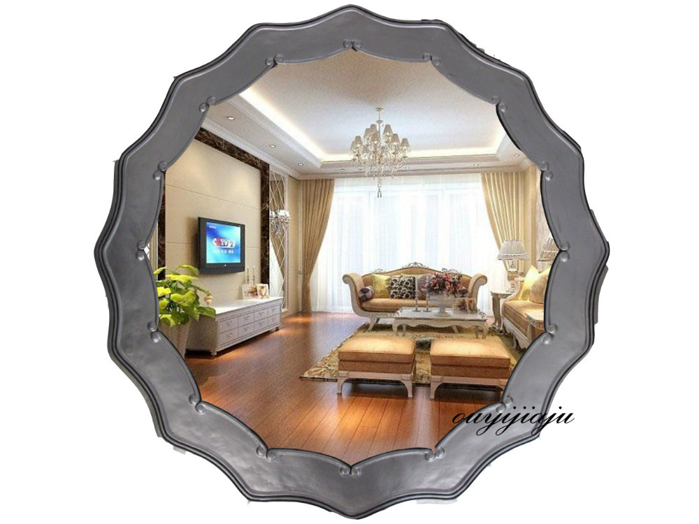 Large big decorative cosmetic antique wall bathroom mirror for Big wall mirror for living room