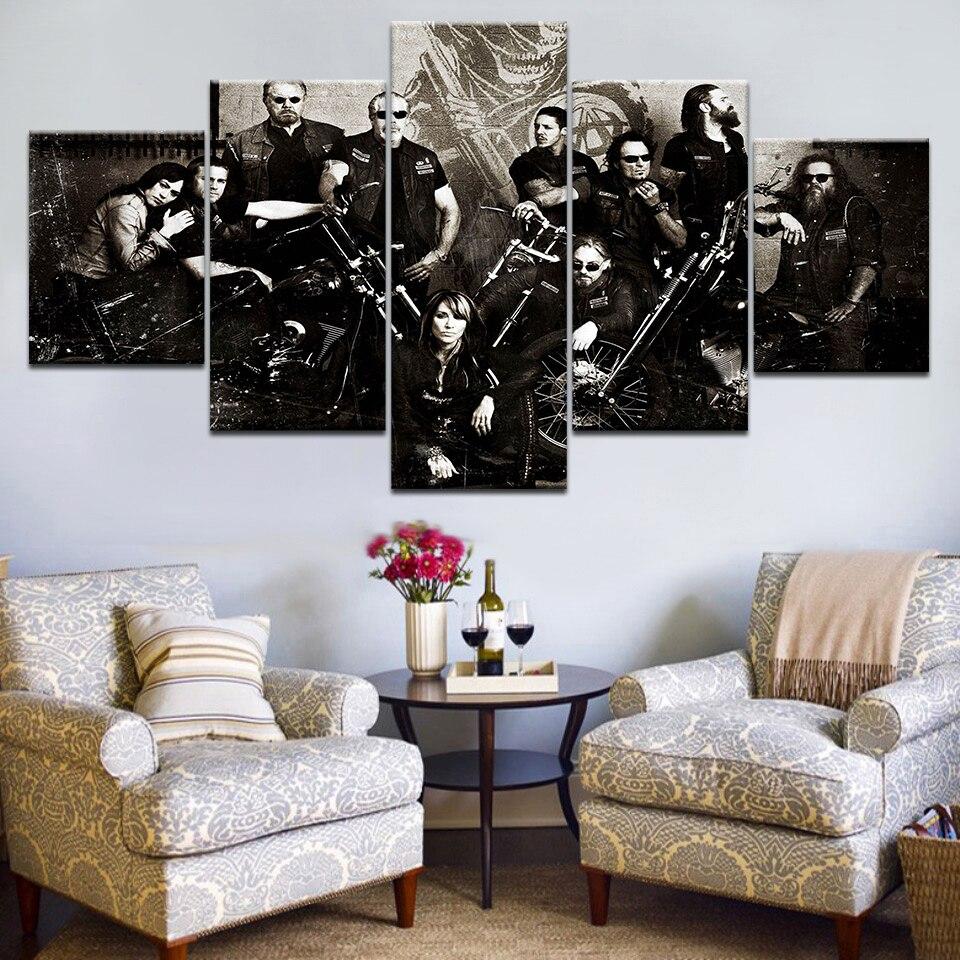 5 Panel HD Impreso Hijos de la Anarquía Serie de TV carteles de - Decoración del hogar - foto 2