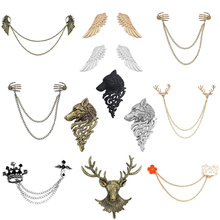 Fashion Retro Angel Wings Deer Wolf Cat Brooch For Men And Women Multilayer Animal Chain Skull Shirt Collar Needle