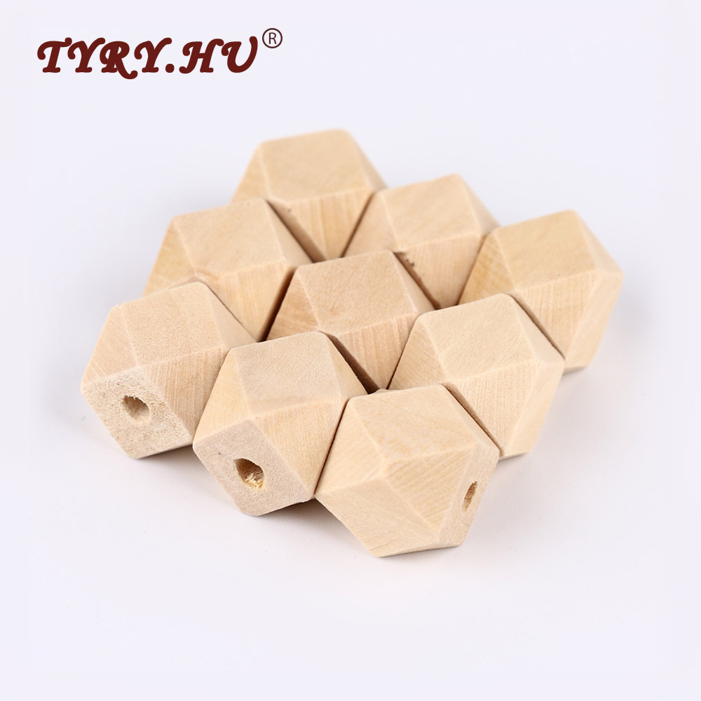 TYRY.HU 10pcs 14/16/18/20mm Geometric Wood Beads Baby Teething Safe Chewable Spacer Beads  Jewelry For DIY Wooden Necklace Toys