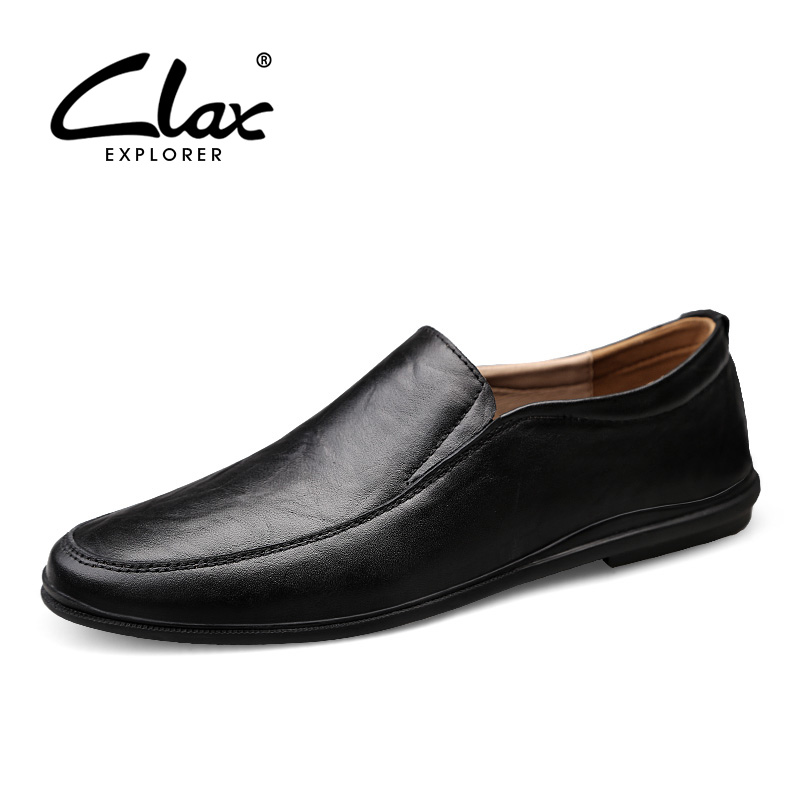 CLAX Man Shoes Leather Summer Men's Loafers Slipons Male Moccasins Dress Formal Footwear Breathable Large Size