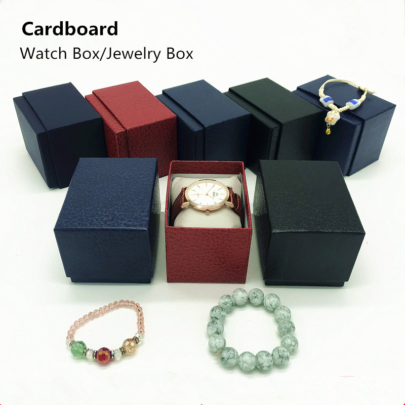 Wholesale Cardboard Material Watch Box New Black/Red/Blue Jewelry Gift Boxes Case New Men's Watch Storage Boxes Case стоимость
