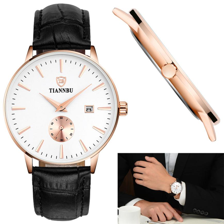 Men Watches 2017 Wristwatches Male Business Clock Quartz Watch Hours Leather Date Small Second Plate Waterproof Wrist Watch 50p