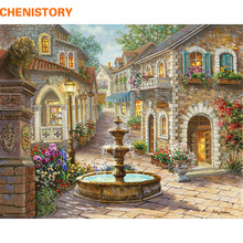 CHENISTORY Fountain Landscape DIY Painting By Numbers Hand Painted Oil Painting Home Decor Wall Art Picture For Room Artwork