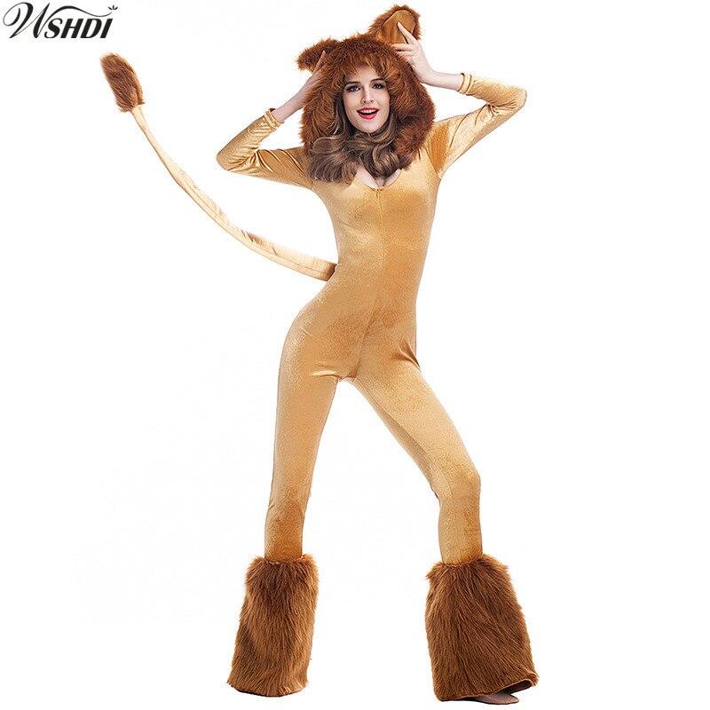 S-XL Adult Animal Cosplay Halloween Costumes Animal Party Cosplay Oz Cartoon Lion Plush Cartoon Lion King Lion Siamese Costume