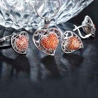 Madrry Upscale Zircon Heart Shape Wedding Jewelry Sets Pendant Necklace&Earrings&Ring Crystal Lady Conjunto De Joias Bijuterias
