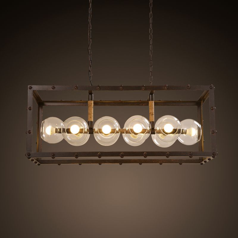 Loft Industrial Retro Dining Table Rectangle 10 Heads Wrought Iron Creative American Country Living Room Coffee Shop Droplight