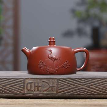 Yixing Pottery Teapot Famous Full Manual Bright Red Gowns, Konghan Pot Tea Set Gift Customized Factory Direct Generation Hair
