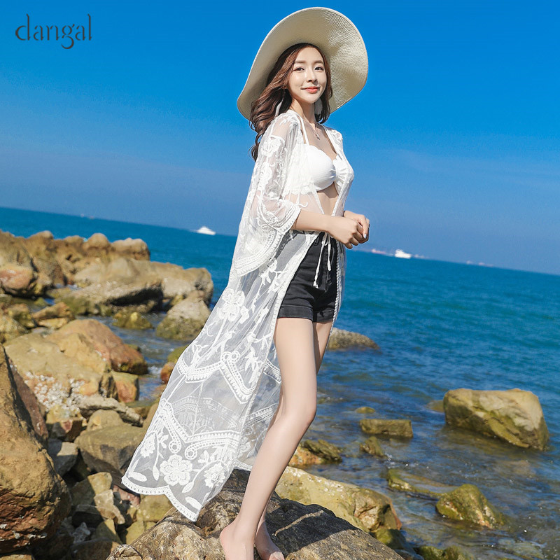 DangalFashion Women Sexy Lace Sun-protective Blouses Long Thin Cardigan Shawls for Beach Solid Half Sleeve Shirts Boho Tulle Top
