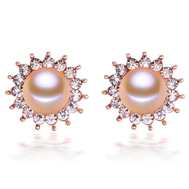 2016 de moda de Nova 100% genuine natural9-10mm pérola jóias rosa banhado a ouro jóias das mulheres brincos de girassol de alta qualidade