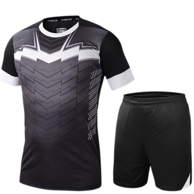 3e21887efe Conjuntos de camisas de Futebol dos homens survêtement Football Kit Sports  Futbol Camisas Shorts Calças Justas