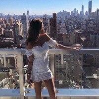 2019 Summer Dress Bodycon Off Shoulder Short Dress Women Summer White Lace Slim Holiday Vestido