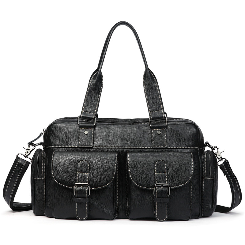 Uniego Genuine Leather Men Shoulder Bags Handbag High Quality Oil Wax Leather Men Crossbody Bags Casual Male Messenger Bag J07 new high quality canvas bag male solid cover zipper casual shoulder school bags men crossbody bag men s messenger bags hqb2014