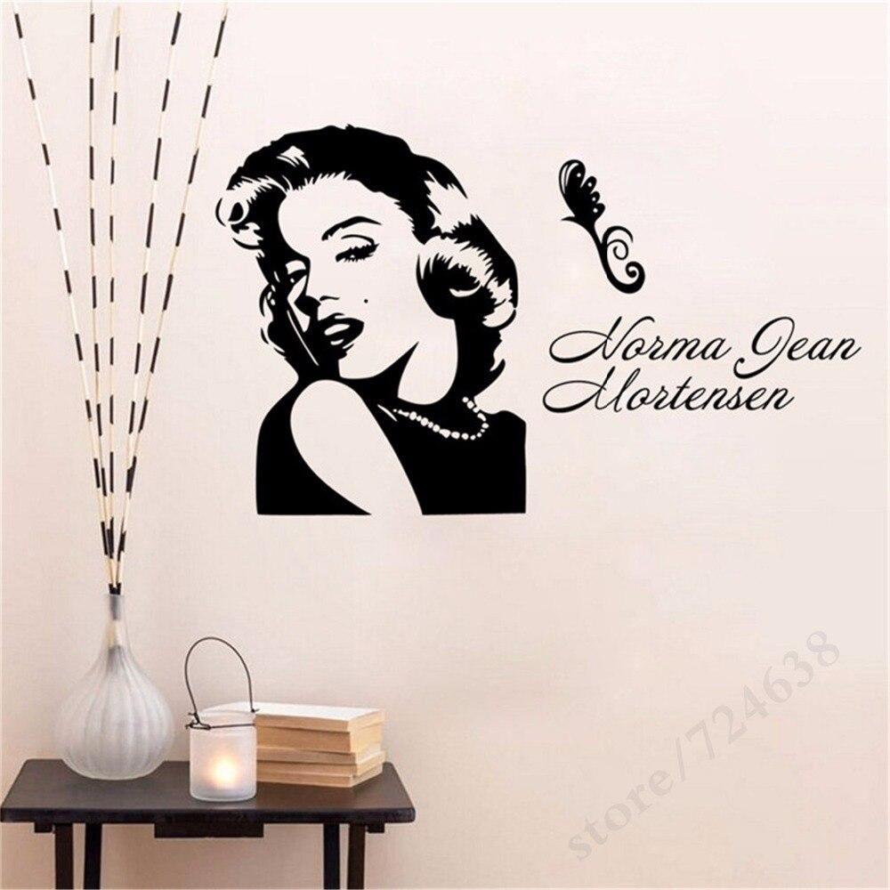 Marilyn monroe bintang terkenal pop wall art sticker vinyl transfer decal jendela pintu stencil mural rumah room decor di wall stickers dari rumah taman