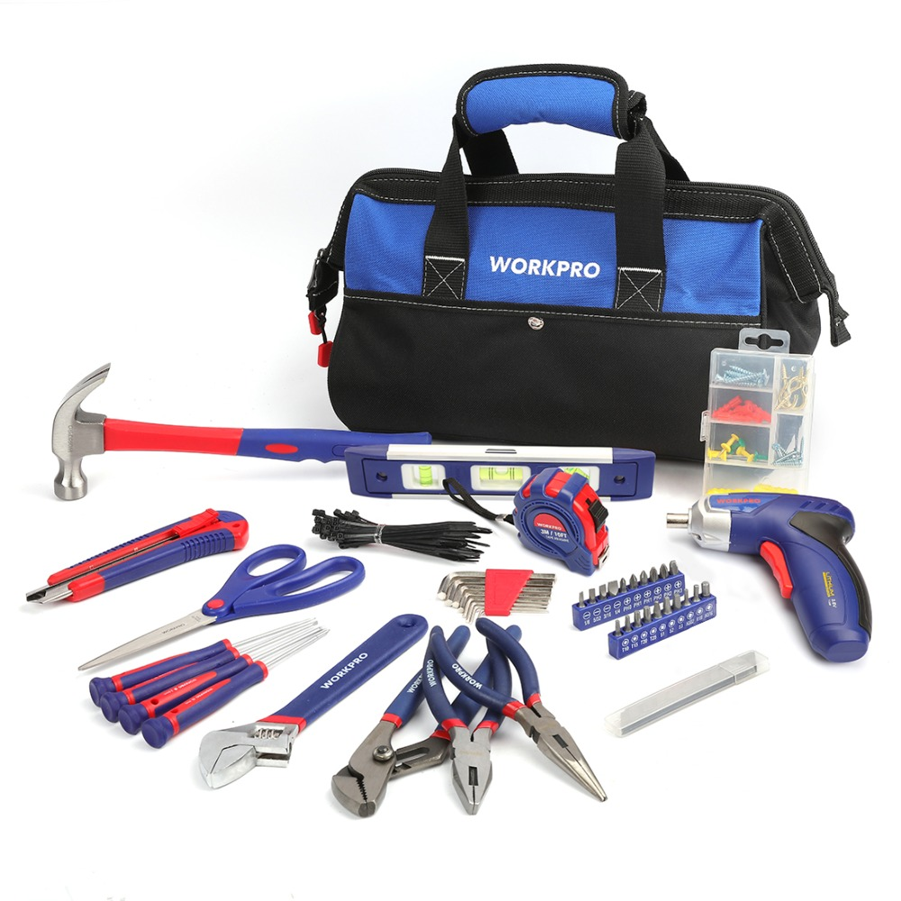 WORKPRO 125PC Tool Set Home Tool Set Electric Screwdriver Hand Tools Tool BagWORKPRO 125PC Tool Set Home Tool Set Electric Screwdriver Hand Tools Tool Bag