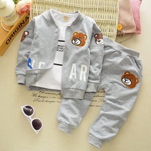 Chidren Kids Boys Gilrs Set Spring 3 Piece+T-shirt+Sports Pants Sets Thick Leisure Coat Suits Fall Cotton Baby Baseball Clothing