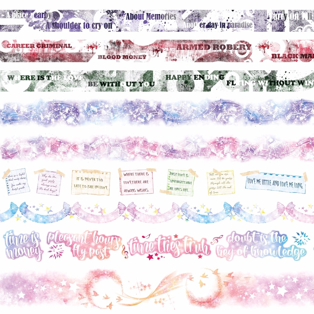 9 Designs Bow/Rainbow/Letter/Memo/Moon/Lace/Stars Cartoon Japanese Washi Decorative Adhesive DIY Masking Paper Tape StickerGift