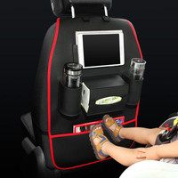PU Leather Car Back Seat Organizer Pockets Hanging Bag Kicking Mat With USB Charger Cable For