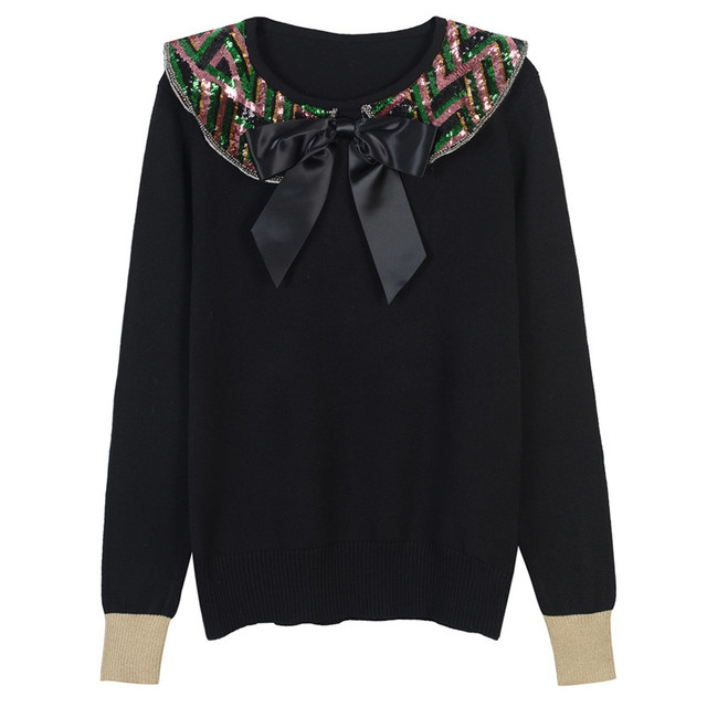 SRUILEE Haute Couture Bow Sequins Jumper Autumn Winter New Women Sweaters Pullovers Knit Top Luxury Fashion Jersey Runway S882