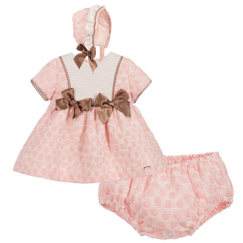 Spain Children's Clothes for Girls Tutu Dress New Summer Pure Cotton Tunic Dresses+PP Pant Hat Baby Brithday Communion mini Gown mini shift lace tunic dress