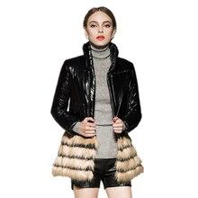 2016 Зима женщины хлопок куртка искусственный мех шить Вниз Хлопка Пальто стоять воротник толстый теплый хлопок куртка тонкий тонкий Куртка