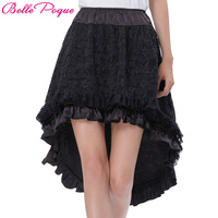 Belle Poque Steampunk Skirt 2017 Women Summer Black Lace Multilayer Victorian Gothic Clothing Ruffled Skirts Matching