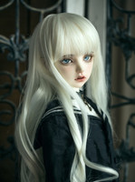 BJD doll wigs High temperature wire for 1/3 BJD DD SD Uncle doll long keiskei white color spring curly hair