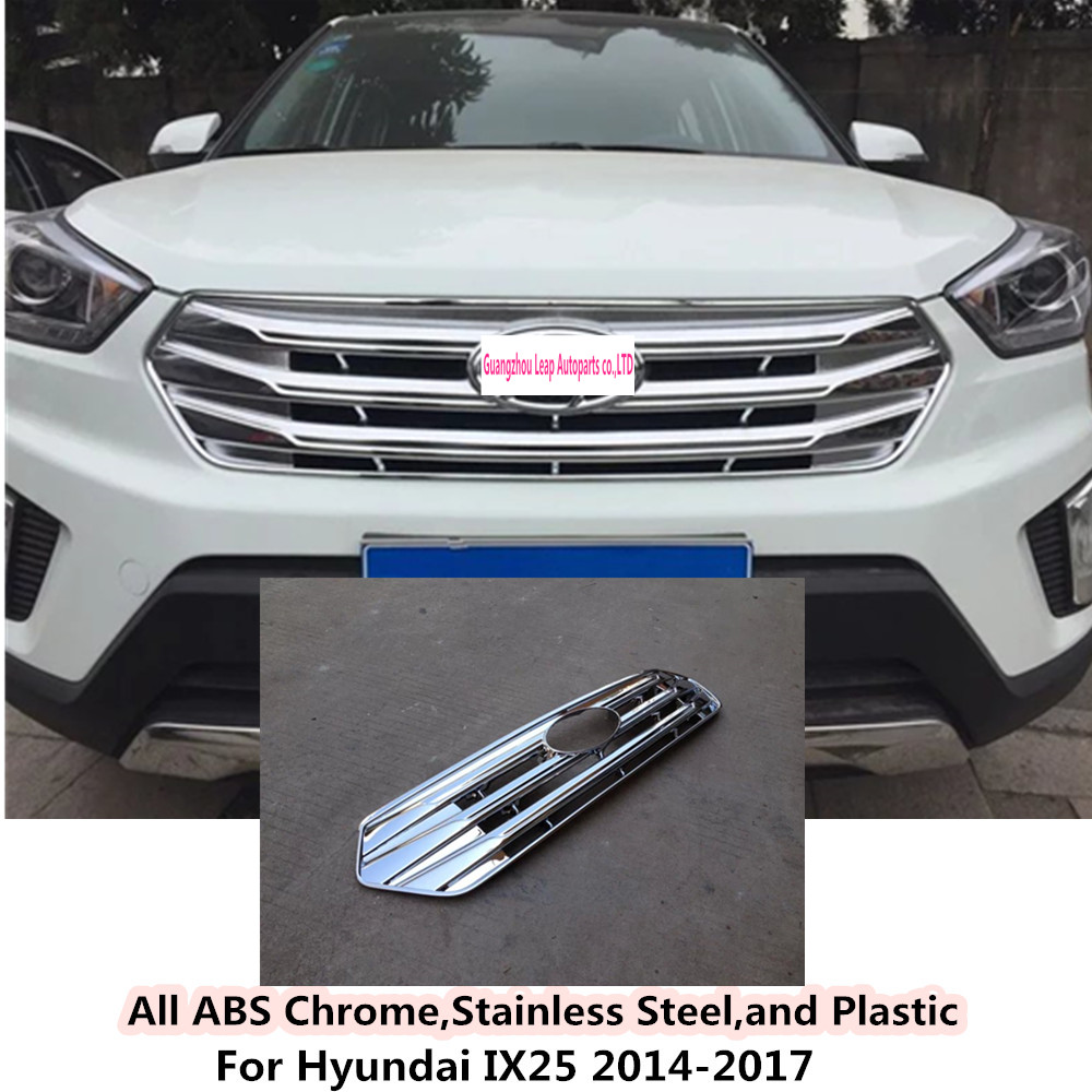 Car body cover detector ABS chrome trim Front up Grid Grill Grille Around hoods 1pcs/set for Hyundai IX25 2014 2015 2016 2017 for peugeot 301 2013 2014 2015 2016 car styling cover detector sticker abs front license grille frame chrome trim strips 1pcs