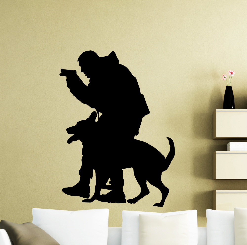 Policeman Dog Wall Decal Police Officer Vinyl Sticker Animals Home Interior Art Wall Decor Waterproof Decals For Teens ZB090