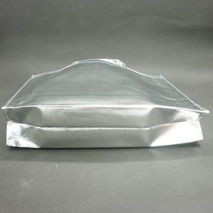 Image 5 - 10 piezas personalizadas película láser Laminado metálico cosido bolso para compras no tejido bolsa Color plata