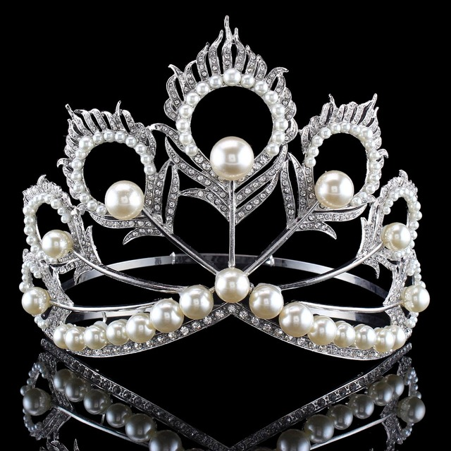 New Arrival Big Size 2017 Miss Universe Same Crown Full Round Adjustable  Silver Pearl Peakcock Feather Tiara Pageant bf3680e733a9