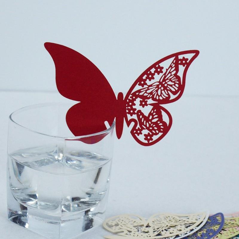 40 unids/set butterfly place name card corazón rojo festivo flor tarjetas del lu