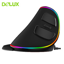 Delux M618 PLUS Wired Ergonomic Vertical Gaming Mouse USB Rechargeable 4000DPI Optical Computer Mice Gamer Mause With RGB LED