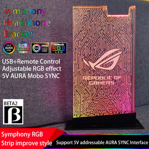 Image 5 - RGB Headset Bracket ROG Symphony Streamer 5V 3P Acrylic Headphone Stand Practical Earphone Holder 5V 3Pin ASUS AURA SYNC