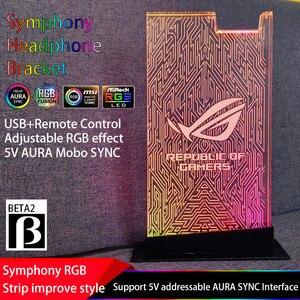 Image 5 - Rgb ヘッドセットブラケット rog シンフォニーストリーマ 5 v 3 1080p アクリルヘッドホンスタンド実用イヤホンホルダー 5 v 3Pin asus オーラ同期