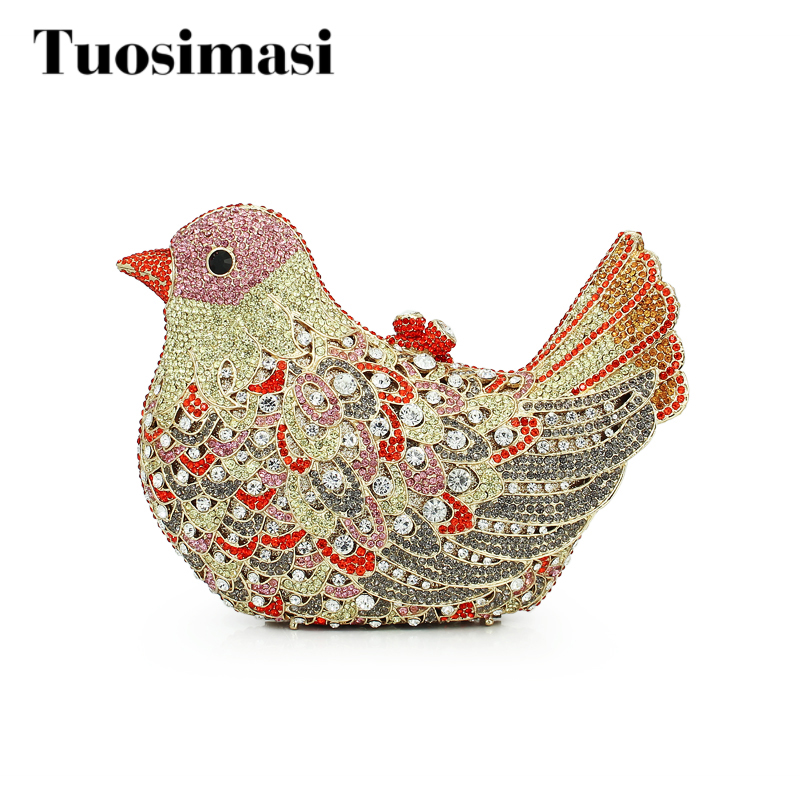 Crystal Luxury Women Clutch Bag Ladies Bird Rhinestone Party Bag Designer Crystal Purse Evening bag(8657A-G) bird patch purse
