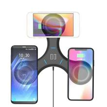 Creative 3-in-1 Wireless Charger with Dual USB Ports for Pad Portable Mobile Phone QI-enabled Devices