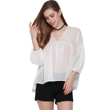 Sheer Mesh Dot Lantern Sleeve Shirt Chiffon V-neck Women Blouse Fashion Sexy Casual Loose Female Blusas For Wholesale