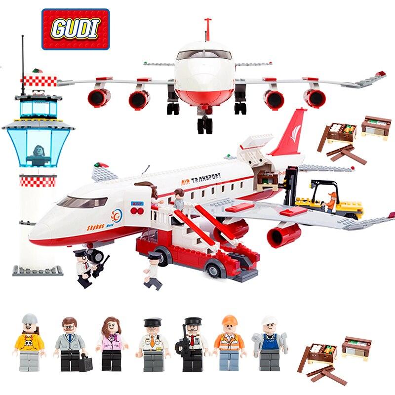 GUDI Bloc Ville Grand Avion de Passagers Avion Bloc Ensemble Compatible Toutes Marques Building Blocks Jouets Éducatifs Pour Enfants