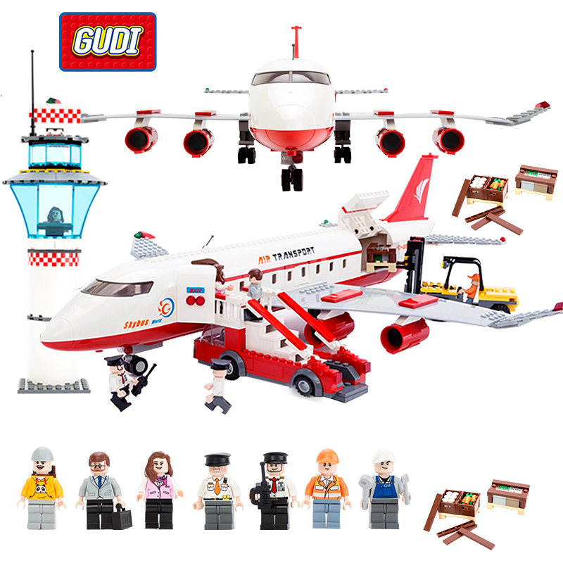 GUDI Block City Large Passenger Plane Airplane Block Assembly Compatible All Brand Building Blocks Educational Toys For Children air passenger plane duplo toy large