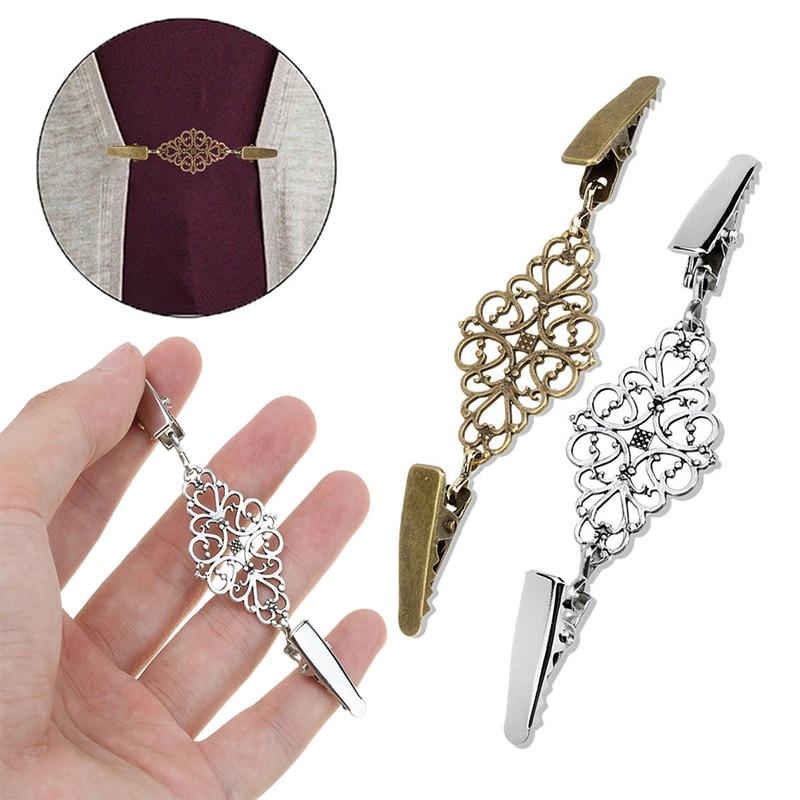 Золотые, серебряные зажимы для утки, гибкая брошь из бисера с жемчугом, шаль, рубашка, свитер, кардиган, воротник, застежка на пряжке, одежда