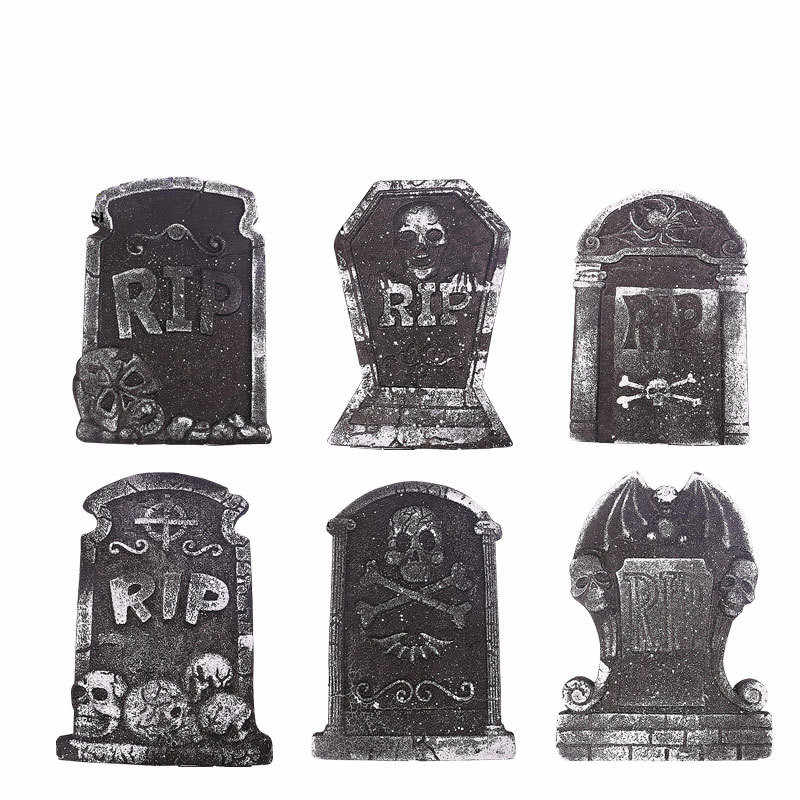 1 Pcs Halloween Foam Tombstone Skeleton Tombstone Haunted House Stone Grisly Props Party Decor Yard Decor Random Style