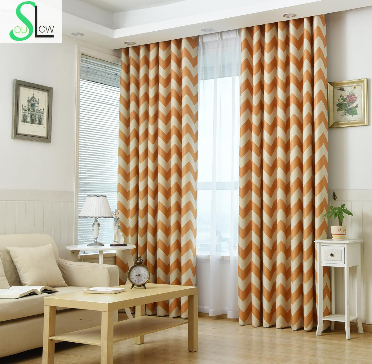 Slow Soul Light Blue Dark Yellow Curtain Printed Striped Cortinas Curtains  For Living Room Kitchen Bedroom Blinds Stripes In Curtains From Home U0026  Garden On ...
