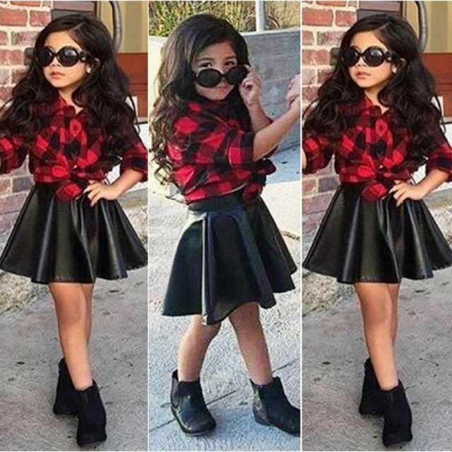 2PCS Kids Clothes Girls Sets Princess Plaid Tops Shirt +Leather Skirt Summer Outfits Clothes For 2-7 Kids Girl