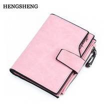 HENGSHENG Fashion Buckle Wallet Casual Colorful Zipper Female Card Holder Ladies Wallet For Women Coin Short Wallet Pocket Purse